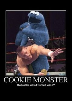 Its Cookie Monster time, John Cena is in danger #funny #hahahaha hahahaha