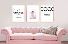 Set of 3 prints INSPIRED BY Chanel perfume quote home decor, 3 piece wall art, Fashion art, minimalist art, fashion posters. Chanel Wall Art, Chanel Decor, Bedroom Frames, Bedroom Decor, Bedroom Ideas, Pictures Above Bed, Chanel Pictures, Chanel Bedroom, Chanel Print