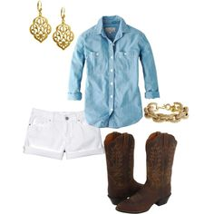 Perfect country concert outfit: White cuffed shorts, chambray top, distressed boots and gold jewelry.