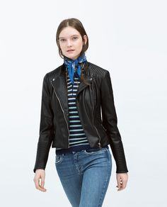 I think a small will fit  FAUX LEATHER BIKER JACKET-Jacket-WOMAN | ZARA United States