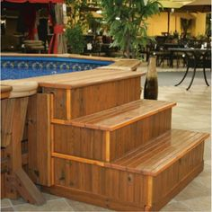 wood steps for pool google search