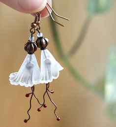 Snow White Bridal Earrings Large Frosted Trumpet by KapKaDesign, $36.00