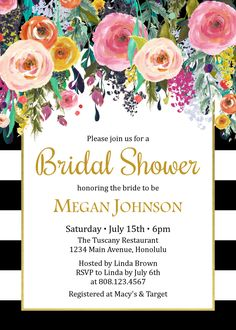 Floral bridal shower invitation printable by papermintprints floral bridal shower invitation black white bridal shower filmwisefo