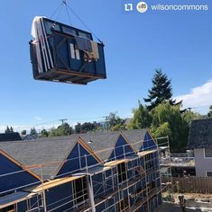 A great shot from the Wilson Commons project of Westeck triple glaze windows going up on the crane for installation!  #multifamilyhousing #qualityhomes #customwindows #windowdesign #fenestration #buildersofinstagram #highperformancewindows Custom Windows, Window Design, Great Shots, Crane, Cabin, House Styles, Building, Projects, Instagram
