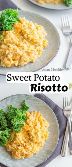 AMAZING Sweet Potato Risotto! Comes together in 40 minutes and only requires 10 basic ingredients. Hearty, creamy and delicious. #vegan #dinner #recipes #healthy #glutenfree