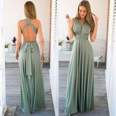 Women Maxi Dress Red Beach Long Dress Multiway Bridesmaids Convertible Wrap…