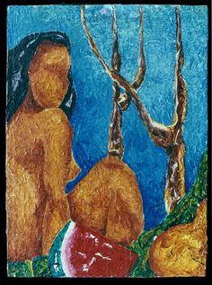 A lenda da mulher que virou árvore por amor. Lenda indígena sobre o amor impossível do casal, a morte do amado e o sofrimento da amada que morre de amor e se transforma em árvore. Por: Ricardo Araújo Série de pinturas executadas a partir do ano de 1989 e finalizadas em 1990. Expostas pela primeira vez em Campinas/SP. Trabalhos em tinta acrílica sobre madeira, técnicas de pinceladas e espátula.  The legend of the woman who turned tree for love. Indian legend about the impossible love of th