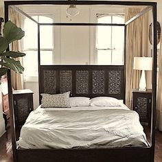 Loving this custom designed tin tile bedroom furniture handcrafted from architectural salvage with an emphasis on century ceiling tins and reclaimed wood from New Orleans homes destroyed or damaged by Katrina Decor, Tile Bedroom, Iron Canopy Bed, Bed, Furniture, Bed Styling, Decorative Tin Tile, Bed Storage, How To Make Bed