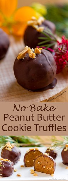 No-Bake Peanut Butter Cookie Truffles -- a delicious & easy recipe that's great for gift giving, cookie exchanges, Santa's cookie plate, or thinking farther ahead, great for Valentine's Day as well!