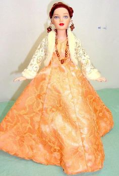 """Peach Lace Gown Gold Jacket Shoes Jewelry OUTFIT fits Tonner 10"""" Tiny Kitty Doll 
