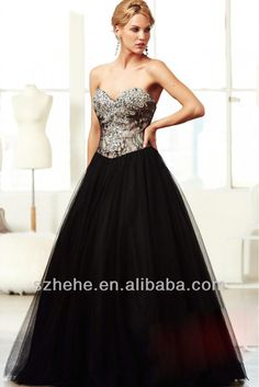 Cw847 Stylish Sweetheart Black Rhinestone Beaded Lace A Line Long Puffy Prom Dresses 2014 - Buy Puffy Prom Dresses,Prom Dresses 2014,Long Pu...