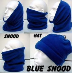 9469ba49f52 ADULT ROYAL BLUE Fleece Snood Neck Face Ear Warmer Headband Hat Gaitor  Skiing in Clothes