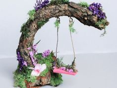 Charming fairy swing. Fairy garden miniature garden by TinkerWhims: