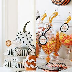Chocolate apples, heaps of candy and smiling jack-o'-lanterns set the scene for a fun Halloween.