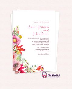 FREE PDF wedding invitation template with editable texts  Vintage     Free PDF Download  Autumn Blooms Wedding Invitation  For customizations   email printableinvitationkits  at