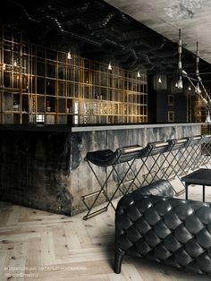 Restaurant on Behance - Bar Ideen Pub Design, Bar Interior Design, Pub Interior, Design Bar Restaurant, Deco Restaurant, Industrial Restaurant Design, Restaurant Service, Restaurant Counter, Restaurant Order
