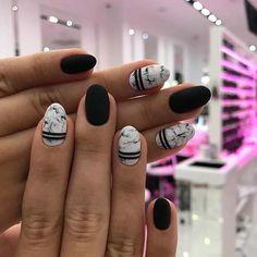 43 Pretty Nail Art Designs for Short Acrylic Nails Black Marble Nails, Matte Black Nails, Black Acrylic Nails, Acrylic Art, Black Nail Designs, Short Nail Designs, Acrylic Nail Designs, Nail Art Designs, Halloween Acrylic Nails