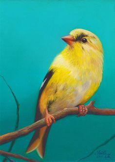 """Goldfinch No. 2"" original fine art by Faith Te"