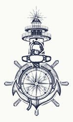 Anchor, steering wheel, compass, lighthouse, tattoo art. Symbol of maritime adventure, tourism, travel. Old anchor and lighthouse t-shirt design