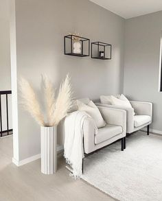 """""""This natural white pampas grass is the perfect addition to any home decor or floral DIY. Add dried thin pampas to your favorite tall vase or sprinkle stems into floral bouquets for an effortlessly…"""" Home Design Living Room, Living Room Decor Cozy, Home And Living, White Room Decor, Modern Room Decor, Beige And Grey Living Room, Ivory Living Room, Beige Room, Modern Apartment Decor"""