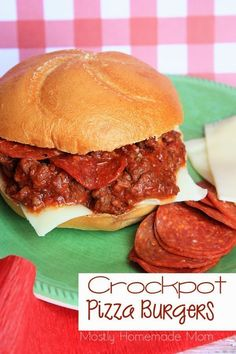 Pizza Burgers - Ground beef slow cooks in pizza sauce and pepperoni ...