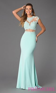 Illusion and Lace Floor Length JVN by Jovani Dress at PromGirl.com