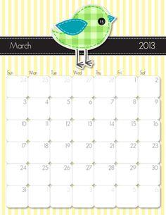 March printable calendar  http://imom.com/tools/get-organized/2013-printable-calendars/  #calendar