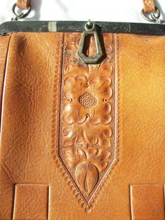 Vintage  Tooled Leather  Deco Handbag  Purse  by BohemianStarlet,