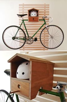 Great way to store a bike and helmet in a small space