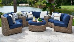 Siesta Wicker Curve Sectional - Fifth & Shore Collections by CarlsPatio.com #fifthandshore #curvesectional #outdoorlounge #patiofurniture