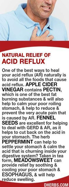 One of the best ways to heal your acid reflux (AR) naturally is to avoid foods that cause AR. Apple cider vinegar's pectin, which helps to calm your rolling stomach & reduce & prevent the pain. Fennel seeds are excellent for helping to deal with GERD & AR, helping cut back on the acid in your stomach. The herb Peppermint helps to settle your stomach & calm the acid that is churning? Taken in tea form, Meadowsweet can provide relief by soothing & cooling your stomach & esophagus. #dherbs