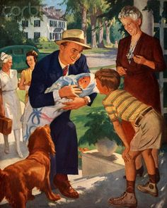 Family Welcoming Newborn Home John Newton Howitt (1885 – 1958, American)