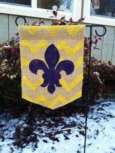 Burlap Garden Flag Yellow and Purple with Chevron Background Mardi Gras on Etsy, $20.00
