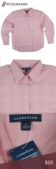 """New LANDS' END Pink Plaid Button Down Shirt This new pink Plaid non iron button down shirt from LANDS End features a relaxed fit and button closures. Made of a cotton blend. Measures: bust: 41"""", total length: 27"""", sleeves: 23.5"""" Lands' End Tops Button Down Shirts"""