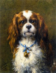 A King Charles Spaniel with a Blue Ribbon   Otto Erelman   oil painting