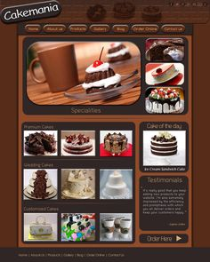 Web Layout for a Cake Shop. Yummie it looks