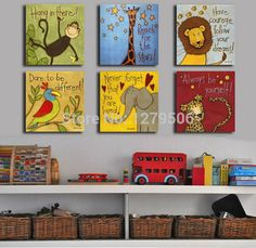 Free shipping Canvas painting Oil Painting Modern cartoon animals wall pictures kids room wall decor No Frame