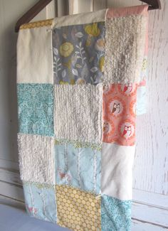 Patchwork chenille baby blanket, good way t use the babies receiving blankets, mixed in with chenille.