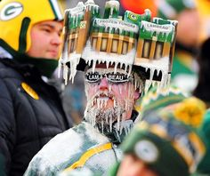 Beer commercial waiting to happen. Packers fan at the breezy Lambeau Field in Green Bay