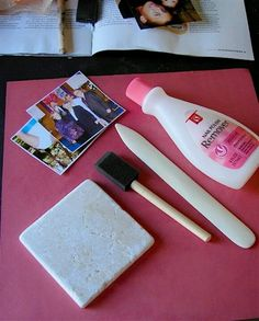 Transfer a picture to tile with polish remover!