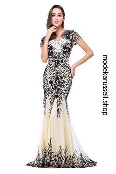 Luxus Abendkleid Schwarz#x2F;Weiss