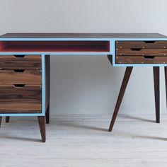 Custom, vibrant mid century desk