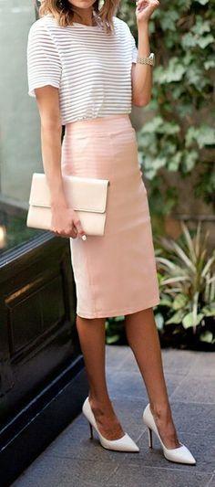 cute ootd top + blush skirt + heels