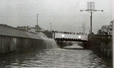 Inundación en el viaducto Miguel Alemán la altura de la calle Monterrey, el 3 de noviembre de 1969.