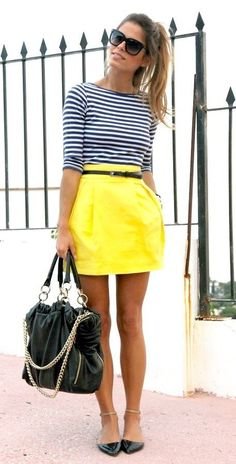 Adorable Spring Look 2015. Striped marine blouse, yellow skirt, black ballerinas and bag.