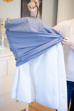 Turn old pillowcases into dust bags for clothes, purses, and shoes.