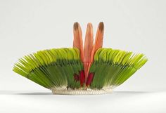 Brazil ~ Mato Grosso State | Feather crown from the Kayapo people | 21th century | Feather and cotton.