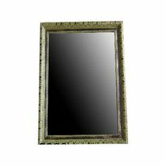 """Wall mirror with a distressed gold-finished wood frame.   Product: Wall mirrorConstruction Material: Wood and mirrored glassColor: GoldDimensions: 19"""" H x 13"""" W x 1"""" D"""