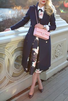 Click through for the full post and outfit details! Blair Eadie // Atlantic Pacific  Floral Dress, Layering, Navy, Chanel