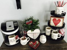 New Valentine Rae Dunn for my coffee bar! Coffee Station Kitchen, Coffee Bar Home, My Coffee, Coffee Stations, Coffe Bar, Coffee Corner, Coffee Mugs, Homemade Coffee Tables, Coffee Bar Design
